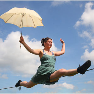 PIC: MARK PASSMORE/APEX 25/06/2015 Pictured: Phoebe Bullzini performs a balancing act in the circus field at the 2015 Glastonbury Festival. ---------------------------------------------------- APEX NEWS & PICTURES NEWS DESK: 01392 823144 PICTURE DESK: 01392 823145